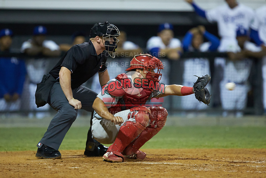 Johnson City Cardinals catcher Aaron Antonini (53) receives a pitch as home plate umpire Lane Culipher looks on during the game against the Burlington Royals at Burlington Athletic Stadium on September 4, 2019 in Burlington, North Carolina. The Cardinals defeated the Royals 8-6 to win the 2019 Appalachian League Championship. (Brian Westerholt/Four Seam Images)