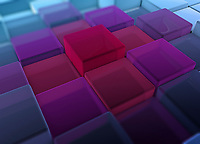 Pink and purple cubes standing out from uneven blue surface pattern