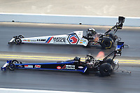 Jul 29, 2018; Sonoma, CA, USA; NHRA top fuel driver Antron Brown (far) alongside Jim Maroney during the Sonoma Nationals at Sonoma Raceway. Mandatory Credit: Mark J. Rebilas-USA TODAY Sports