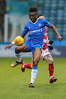 Gabriel Zakuani of Gillingham during the Sky Bet League 1 match between Gillingham and Fleetwood Town at the MEMS Priestfield Stadium, Gillingham, England on 27 January 2018. Photo by David Horn.