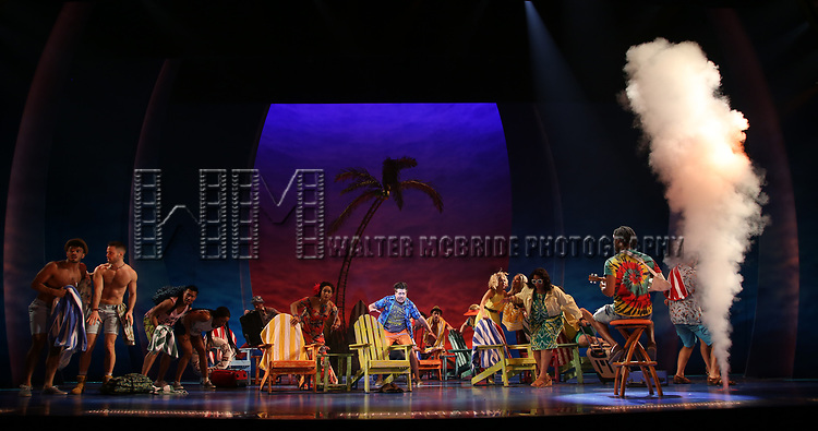 Cast during the Press Sneak Peak for the Jimmy Buffett  Broadway Musical 'Escape to Margaritaville' on February 15, 2018 at the Marquis Theatre in New York City.