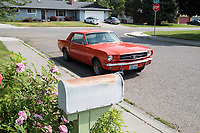Heidi Wickersham's 1964.5 Ford Mustang outside April Wickersham and Ryan Covert's house in Richland, Washington.
