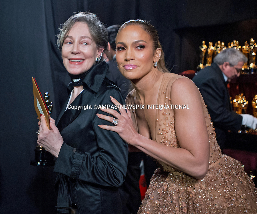 22.02.2015; Hollywood, California: 87TH OSCARS - JENNIFER LOPEZ AND MILENA CANONERO<br /> during the Annual Academy Awards Telecast, Dolby Theatre, Hollywood.<br /> Mandatory Photo Credit: NEWSPIX INTERNATIONAL<br /> <br />               **ALL FEES PAYABLE TO: &quot;NEWSPIX INTERNATIONAL&quot;**<br /> <br /> PHOTO CREDIT MANDATORY!!: NEWSPIX INTERNATIONAL(Failure to credit will incur a surcharge of 100% of reproduction fees)<br /> <br /> IMMEDIATE CONFIRMATION OF USAGE REQUIRED:<br /> Newspix International, 31 Chinnery Hill, Bishop's Stortford, ENGLAND CM23 3PS<br /> Tel:+441279 324672  ; Fax: +441279656877<br /> Mobile:  0777568 1153<br /> e-mail: info@newspixinternational.co.uk