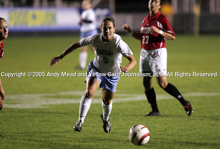 UNC's Kacey White on Wednesday, November 2nd, 2005 at SAS Stadium in Cary, North Carolina. The University of North Carolina Tarheels defeated the University of Maryland Terrapins 3-1 during their Atlantic Coast Conference Tournament Quarterfinal game.