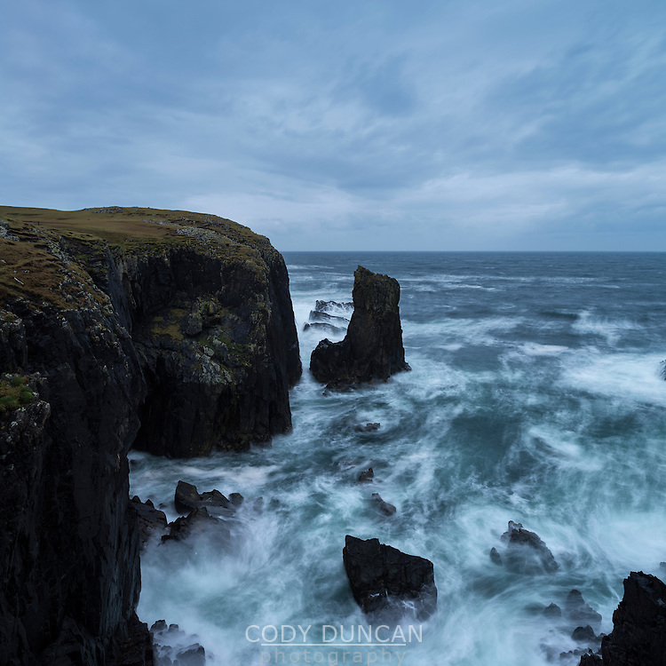 Turbulent seas and dramatic coastal cliffs at Butt Of Lewis, Isle of Lewis, Scotland