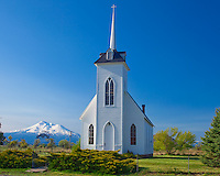 Siskiyou County, CA<br /> Morning light the Little Shasta Valley church.
