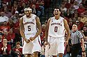 November 8, 2013: Terran Petteway (5) and Tai Webster (0) of the Nebraska Cornhuskers are fired up from a play in the first half against the Florida Gulf Coast Eagles at the Pinnacle Bank Areana, Lincoln, NE. Nebraska defeated Florida Gulf Coast 79 to 55.