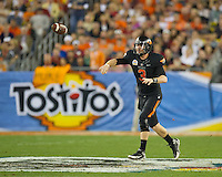 STANFORD, CA - January 2, 2012: Oklahoma State quarterback Brandon Weeden (3) at the Fiesta Bowl at University of Phoenix Stadium in Phoenix, AZ. Final score Oklahoma State wins 41-38.