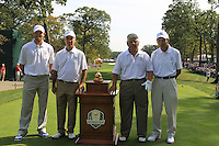 L-R Chicago Bears kicker Robbie Gould, 2010 Captain Corey Pavin (USA), 1985 Captain Lee Trevino and Chicago Blackhawks player Stan Mikita on the 1st tee for the Captains/Celebrity scramble exhibition during Monday's Practice Day of the 39th Ryder Cup at Medinah Country Club, Chicago, Illinois 25th September 2012 (Photo Eoin Clarke/www.golffile.ie)
