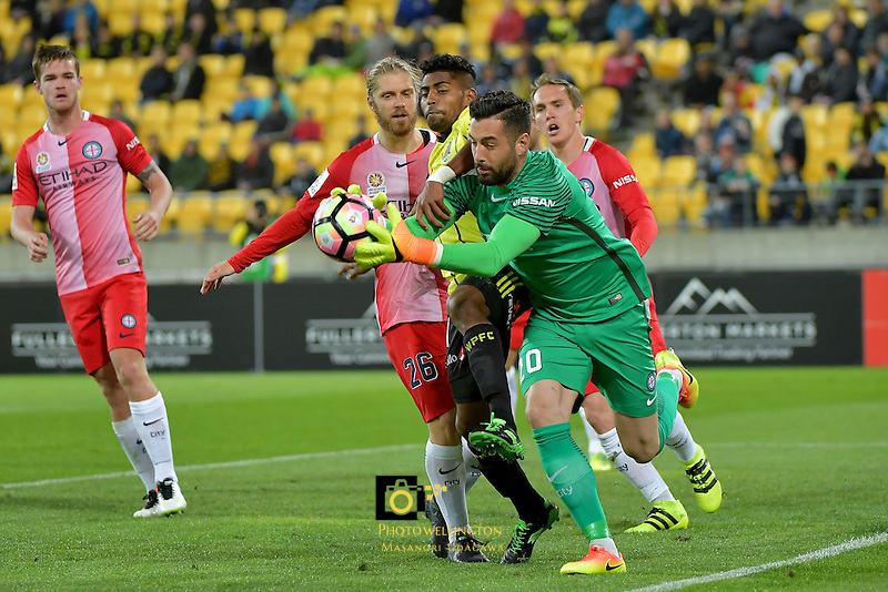 Melbourne City FC's Dean Bouzanis in action during the A League - Wellington Phoenix v Melbourne City FC at Westpac Stadium, Wellington, New Zealand on Saturday 8 October 2016.<br /> Photo by Masanori Udagawa. <br /> www.photowellington.photoshelter.com.