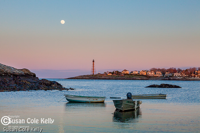 Moonrise at Marblehead Light over Marblehead Harbor, Marblehead, Massachusetts, USA
