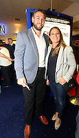 Pictured: Rugby player Ryan Jones with wife Ailsa. Sunday 14 September 2014<br />