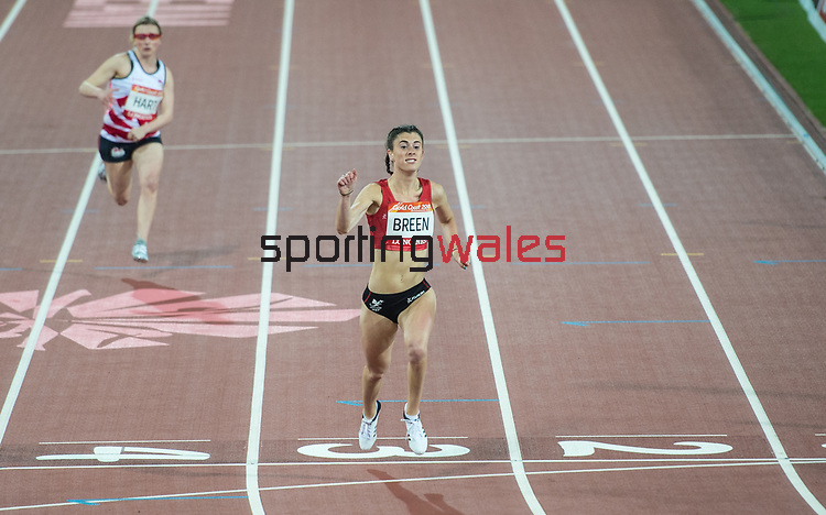 Wales Olivia Breen (para) in action during the Woman's T38 100m Final and goes on to win Bronze <br /> <br /> *This image must be credited to Ian Cook Sportingwales and can only be used in conjunction with this event only*<br /> <br /> 21st Commonwealth Games - Athletics -  Day 8 - 12\04\2018 - Carrara Stadium<br />  - Gold Coast City - Australia