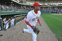 Right fielder Joseph Monge (15) of the Greenville Drive in a game against the Greensboro Grasshoppers on Tuesday, August 25, 2015, at Fluor Field at the West End in Greenville, South Carolina. Greensboro won, 3-2. (Tom Priddy/Four Seam Images)