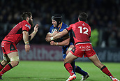 29th September 2017, RDS Arena, Dublin, Ireland; Guinness Pro14 Rugby, Leinster Rugby versus Edinburgh; Seán O'Brien (Leinster) is tackled by Phil Burleigh (Edinburgh) and Cornell du Preez (Edinburgh)