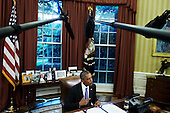 "United States President Barack Obama makes a statement before signing two bills, S. 337 the ""FOIA Improvement Act of 2016"" and S. 2328 the ""Puerto Rico Oversight, Management, and Economic Stability Act,"" in the Oval Office of the White House in Washington, D.C. on June 30, 2016.<br /> Credit: TJ Kirkpatrick / Pool via CNP"