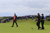 Shane Lowry (IRL) and caddy Bo on the 16th green during Sunday's Final Round of the 148th Open Championship, Royal Portrush Golf Club, Portrush, County Antrim, Northern Ireland. 21/07/2019.<br /> Picture Eoin Clarke / Golffile.ie<br /> <br /> All photo usage must carry mandatory copyright credit (© Golffile | Eoin Clarke)