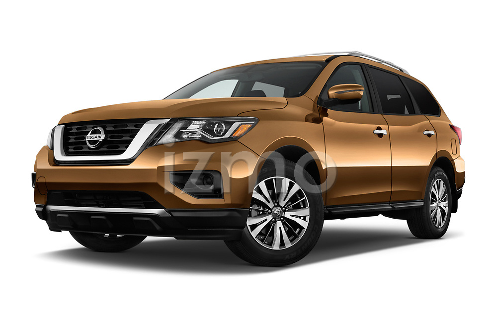 Stock pictures of low aggressive front three quarter view of 2018 Nissan Pathfinder S 5 Door SUV Low Aggressive
