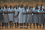 Students line up for morning assembly at the John Paul II School in Wau, South Sudan.