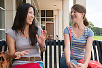 Qiao Keating, left, and Mary Weidig, right, chat outside of Ohio University Zanesville's bookstore.
