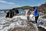 Marine Biologist Kevin Flannery and Aquarist Sarah Hegarty release hundreds of baby lobsters into The Atlantic Ocean near Dingle in County Kerry under a joint project with local fishermen and Dingle Oceanworld on Tuesday.<br /> Picture by Don MacMonagle<br /> <br /> Story by Majella O'Sullivan