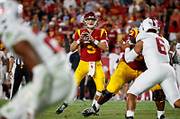 LOS ANGELES, CA - SEPTEMBER 8: USC Trojans quarterback Kedon Slovis #9 looks for an open receiver during a game between USC and Stanford Football at Los Angeles Memorial Coliseum on September 7, 2019 in Los Angeles, California.