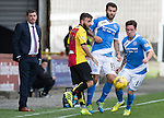 Partick Thistle v St Johnstone…10.09.16..  Firhill  SPFL<br />Danny Swanson comes away with the ball from Steven Lawless under the watchful eye of manager Tommy Wright<br />Picture by Graeme Hart.<br />Copyright Perthshire Picture Agency<br />Tel: 01738 623350  Mobile: 07990 594431