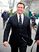 Washington, D.C. - February 22, 2009 -- Governor Arnold Sachwarzenegger (Republican of California) departs after speaking to reporters following his meeting with United States President Barack Obama at the White House in Washington, D.C. on Monday, February 22, 2010.  .Credit: Ron Sachs / CNP