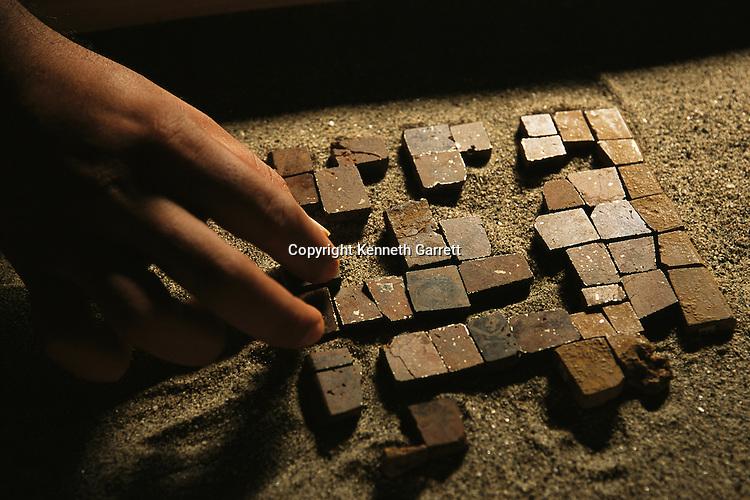 Takalik Abaj, Mosaic pyrite mirror from royal burial, early Maya grave, Guatemala, archaeology, Americas, artifact