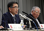 May 12, 2017, Tokyo, Japan - Japan's  small car maker Suzuki Motor president Toshihiro Suzuki (L) announces the company's financial result ended March 31 in Tokyo on Friday, May 12, 2017, while chairman Osamu Suzuki (R) looks on. Suzuki's operating profit soared 36.5 percent to 266.7 billion yen, thanks for Indian sales.   (Photo by Yoshio Tsunoda/AFLO) LwX -ytd-