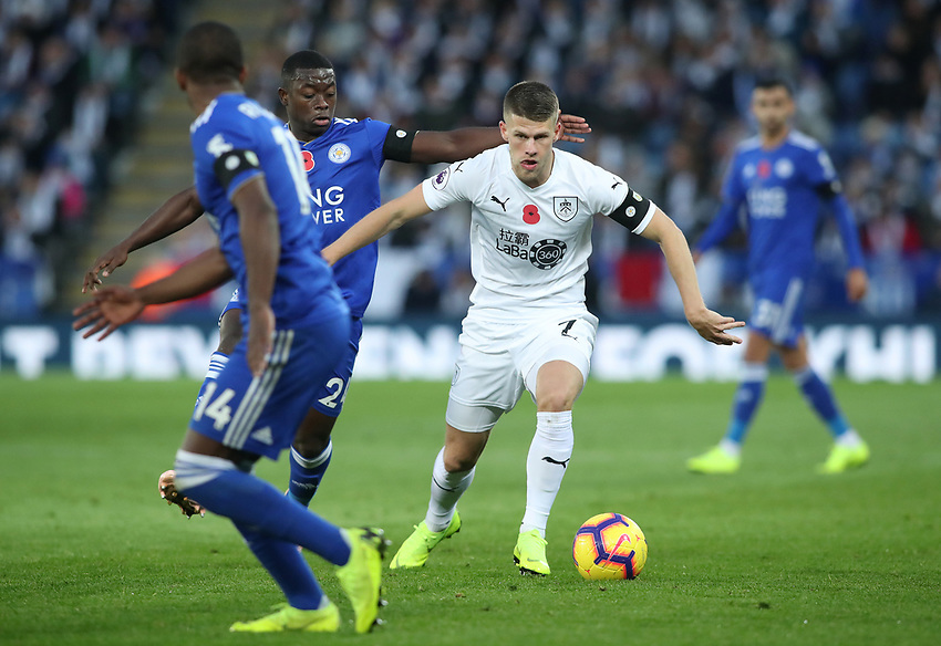 Burnley's Johann Gu_mundsson and Leicester City's Nampalys Mendy<br /> <br /> Photographer Rachel Holborn/CameraSport<br /> <br /> The Premier League - Saturday 10th November 2018 - Leicester City v Burnley - King Power Stadium - Leicester<br /> <br /> World Copyright © 2018 CameraSport. All rights reserved. 43 Linden Ave. Countesthorpe. Leicester. England. LE8 5PG - Tel: +44 (0) 116 277 4147 - admin@camerasport.com - www.camerasport.com