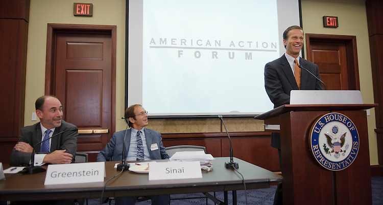 WASHINGTON, DC - Sept. 21: Sen. John Thune, R-S.D., speaks during an American Action Forum at the U.S. Capitol on the financial crisis in the U.S. Looking on are Douglas Holtz-Eakin, of the American Action Forum, and Allen Sinai of Decision Economics. (Photo by Scott J. Ferrell/Congressional Quarterly)