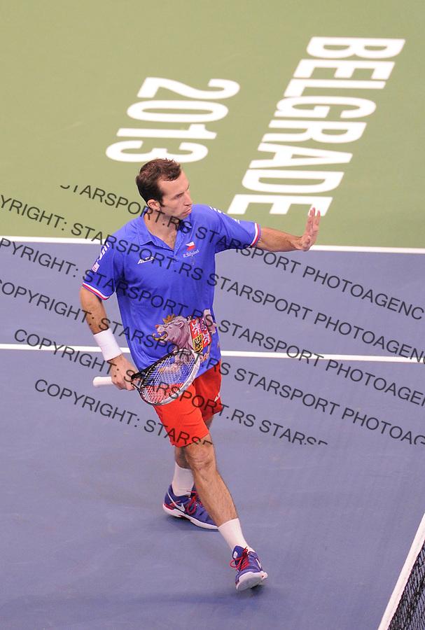 Tennis Tenis<br /> Davis Cup Final 2013<br /> Serbia v Czech Republic<br /> Nenad Zimonjic and Ilija Bozoljac v Radek Stepanek and Tomas Berdych<br /> Radek Stepanek in action<br /> Beograd, 16.11.2013.<br /> foto: Srdjan Stevanovic/Starsportphoto &copy;