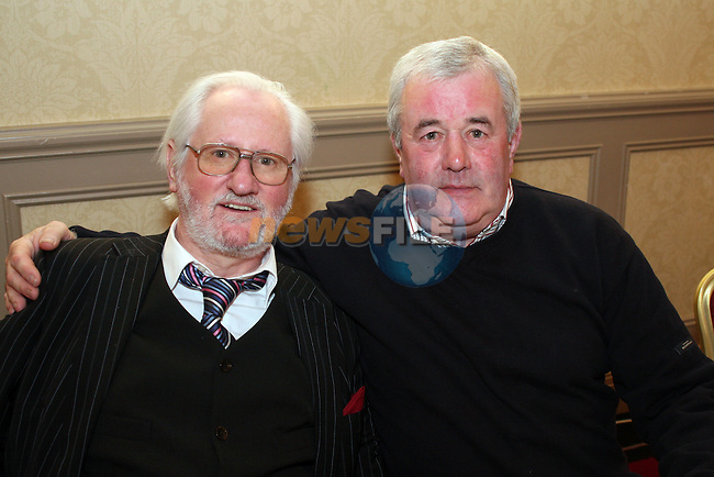 Past Members of the Lourdes Brass Band Shaun (Podger) Reynolds and Jim Lambe in the Westcourt Hotel. ..Photo NEWSFILE/Jenny Matthews.(Photo credit should read Jenny Matthews/NEWSFILE)....This Picture has been sent you under the condtions enclosed by:.Newsfile Ltd..The Studio,.Millmount Abbey,.Drogheda,.Co Meath..Ireland..Tel: +353(0)41-9871240.Fax: +353(0)41-9871260.GSM: +353(0)86-2500958.email: pictures@newsfile.ie.www.newsfile.ie.FTP: 193.120.102.198.