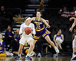 SIOUX FALLS, SD - MARCH 8: Rachel Skalnik #13 of the Oral Roberts Golden Eagles pivots and drives to the basket against Olivia Kaufmann #13 of the Western Illinois Leathernecks at the 2020 Summit League Basketball Championship in Sioux Falls, SD. (Photo by Richard Carlson/Inertia)