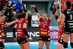 14.01.2018, Halle Berg Fidel, Muenster<br />Volleyball, Bundesliga Frauen, Normalrunde, USC Münsterr / Muenster vs. Dresdner SC<br /><br />Jubel Sasa Planinsec (#18 Dresden), Mareen Apitz (#2 Dresden), Mareen Apitz (#2 Dresden), Myrthe Schoot (#9 Dresden)<br /><br />  Foto © nordphoto / Kurth