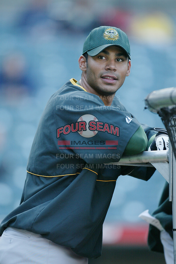 Carlos Pena of the Oakland Athletics before a 2002 MLB season game against the Los Angeles Angels at Angel Stadium, in Anaheim, California. (Larry Goren/Four Seam Images)