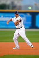 Pensacola Blue Wahoos third baseman David Vidal #6 during a game against the Jacksonville Suns on April 15, 2013 at Pensacola Bayfront Stadium in Pensacola, Florida.  Jacksonville defeated Pensacola 1-0 in 11 innings.  (Mike Janes/Four Seam Images)