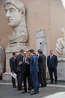 Rome, Italy, March 25,2017. French President Francois Hollande, speaks with Greek Prime Minister Alexis Tsipras, prior to a group photo in the Cortile di Michelangelo during an EU summit in Rome. European Union leaders were gathering in Rome to mark the 60th anniversary of their founding treaty and chart a way ahead following the decision of Britain to leave the 28-nation bloc.