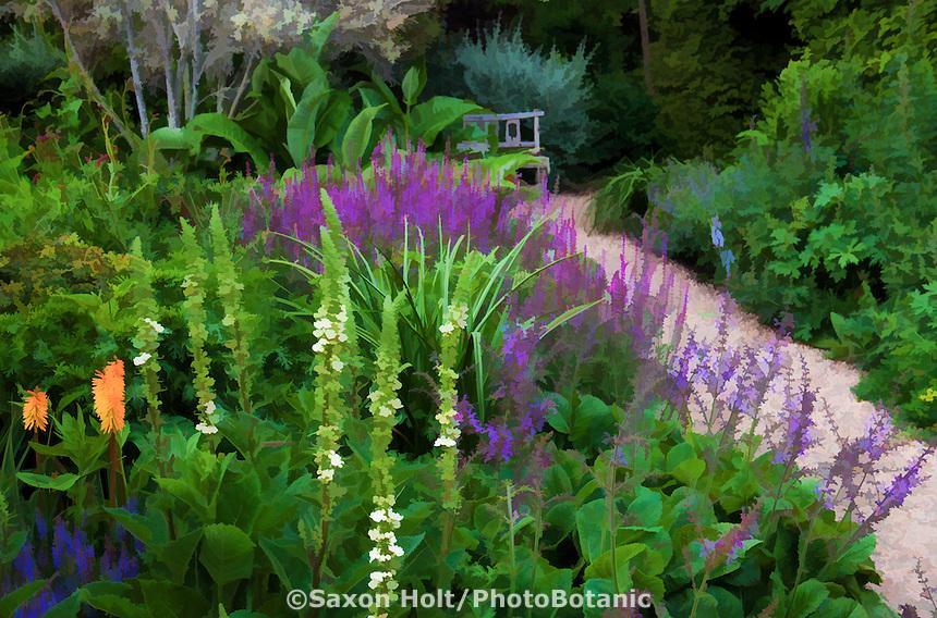 Photo interpretation - Path through perennial borders with orange Knifophia in Gary Ratway garden