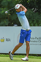 Kazuya OSAWA (JPN) watches his tee shot on 5 during Rd 2 of the Asia-Pacific Amateur Championship, Sentosa Golf Club, Singapore. 10/5/2018.<br /> Picture: Golffile | Ken Murray<br /> <br /> <br /> All photo usage must carry mandatory copyright credit (© Golffile | Ken Murray)