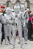 Cybermen at the start of the parade. About 100 Science Fiction fans dressed up as their favourite characters and gathered in the courtyard of Somerset House to head off for the 4th Sci-Fi London Annual Costume Parade. The parade was organised by Sci-Fi London 14, the London International Festival of Science Fiction and Fantastic Film. The film festival runs until 4 May 2014.