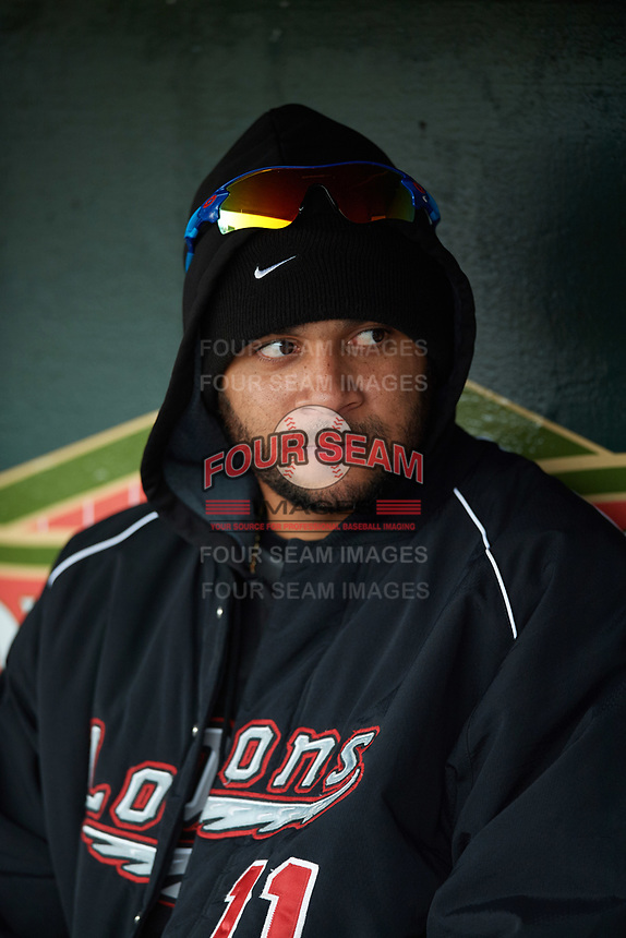 Great Lakes Loons pitcher Jordan Sheffield (11) in the dugout before a game against the Burlington Bees on May 4, 2017 at Dow Diamond in Midland, Michigan.  Great Lakes defeated Burlington 2-1.  (Mike Janes/Four Seam Images)