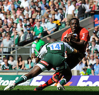 Twickenham, GREAT BRITAIN, Toulouse s' Yannick NYANGA, tackled by, Topsy OJO, during the, first half  Heineken, Semi Final, Cup Rugby Match,  London Irish vs Toulouse, at the Twickenham Stadium on Sat 26.04.2008 [Photo, Peter Spurrier/Intersport-images]