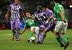 Cheik Mbengue makes a crunching tackle for Toulouse. Toulouse v Saint Etienne (3-1), 2eme Journee, Ligue 1 2009/2010, Stade Municipal, Toulouse, France, 15th August 2009.