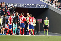 7th March 2020; Wanda Metropolitano Stadium, Madrid, Spain; La Liga Football, Atletico de Madrid versus Sevilla; The referee requests the revision of a move via VAR