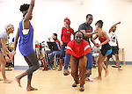 Michelle Williams & Adesola Osakalumi with the ensemble cast rehearsing for the touring company of 'FELA!'  at the Pearl Studios in New York City on 1/23/2013