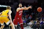 SIOUX FALLS, SD - MARCH 7: Alperen Kurnaz #12 of the Denver Pioneers passes the ball past Jaxon Knotek #2 of the North Dakota State Bison at the 2020 Summit League Basketball Championship in Sioux Falls, SD. (Photo by Richard Carlson/Inertia)