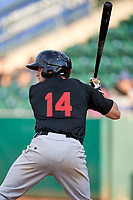 Logan Taylor (14) of the Great Falls Voyagers bats against the Ogden Raptors at Lindquist Field on August 16, 2017 in Ogden, Utah. The Voyagers defeated the Raptors 11-6. (Stephen Smith/Four Seam Images)