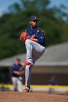 State College Spikes pitcher Kender Villegas (57) delivers a pitch during a game against the Batavia Muckdogs August 23, 2015 at Dwyer Stadium in Batavia, New York.  State College defeated Batavia 8-2.  (Mike Janes/Four Seam Images)